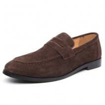 Brown Suede Point Head Flats Loafers Dapper Mens Dappermen Shoes