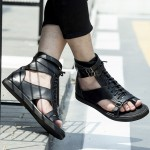 Black High Top Strappy Thumb Fashion Mens Sneakers Gladiator Roman Sandals