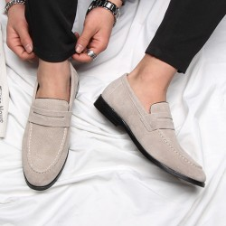 Beige Cream Suede Point Head Flats Loafers Dapper Mens Dappermen Shoes