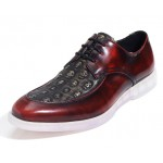 Burgundy Skulls Embossed Leather Gothic Lace Up Mens Oxfords Dress Shoes