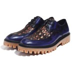 Blue Royal Skulls Embossed Leather Cleated Sole Lace Up Mens Oxfords Dress Shoes