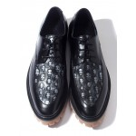 Black Skulls Embossed Leather Cleated Sole Lace Up Mens Oxfords Dress Shoes