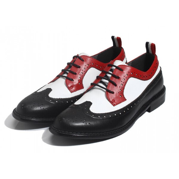 Black Red Vintage Leather Dapper Man Lace Up Mens Oxfords Dress Shoes