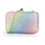 Rainbow Pastel Bling Bling Glitter Rectangluar Evening Clutch Purse Jewelry Box