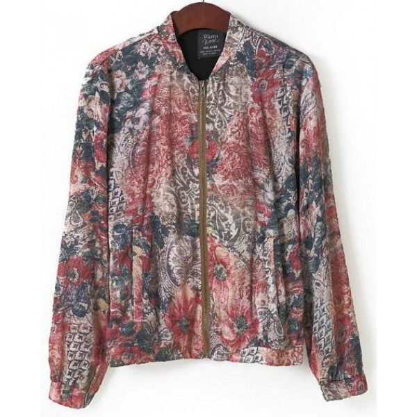 Grey Burgundy Satin Vintage Flowers Floral Baseball Aviator Bomber Rider Jacket