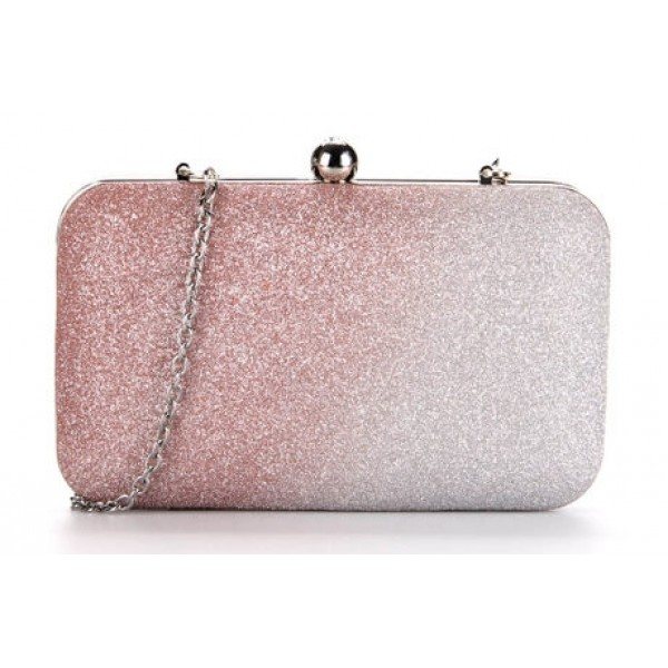 Pink Pastel Bling Bling Glitter Rectangluar Evening Clutch Purse Jewelry Box