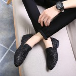 Black Glitters Sparkles Mens Oxfords Loafers Dress Shoes Flats
