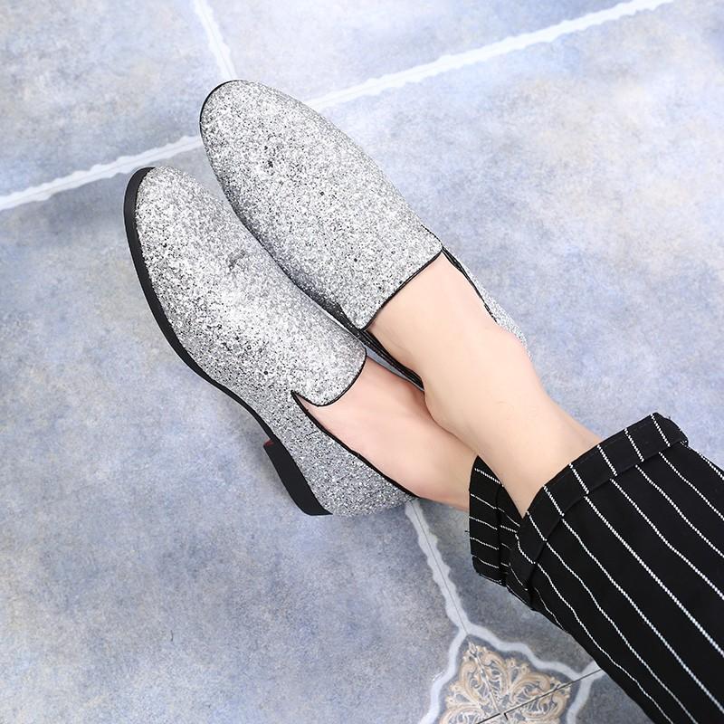 Silver Glitters Sparkles Mens Oxfords