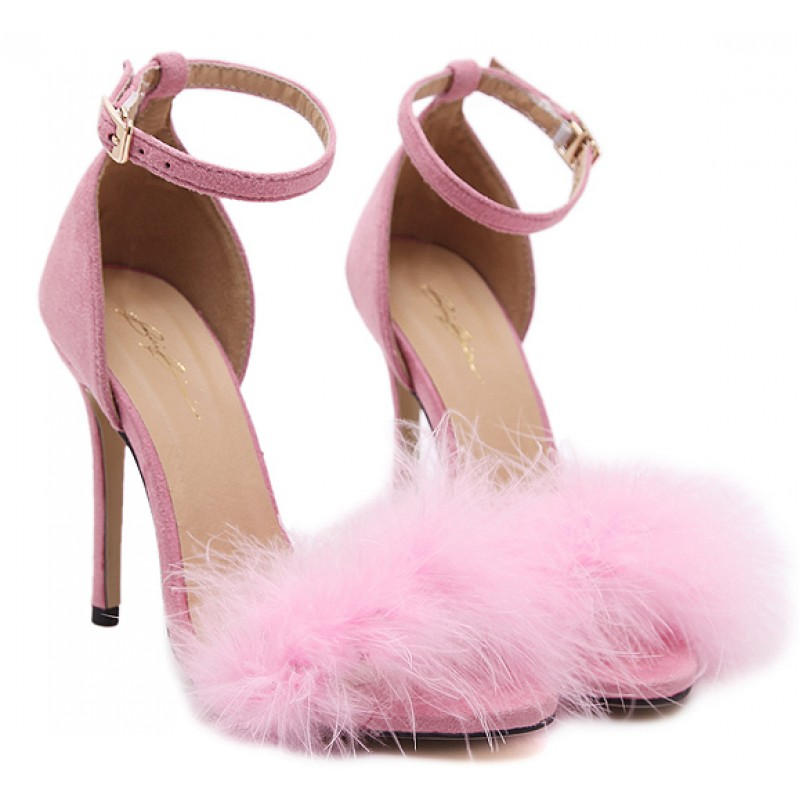 Pink Suede Feather Fur Flurry Sexy High