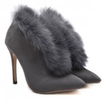 Grey Rabbit Fur Point Head Stiletto High Heels Boots Shoes
