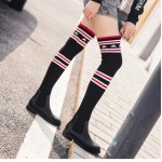 Black Red Stars Knit Socks Long Knee Rider Flats Boots Shoes