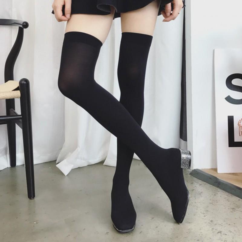 Black Stocking Knit Socks Long Knee
