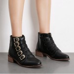 Black Point Head Buckle Straps Metal Studs Punk Rock Chelsea Boots Shoes