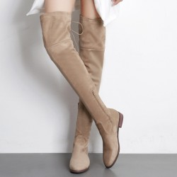 Khaki Suede Long Knee Rider Flats Boots Shoes