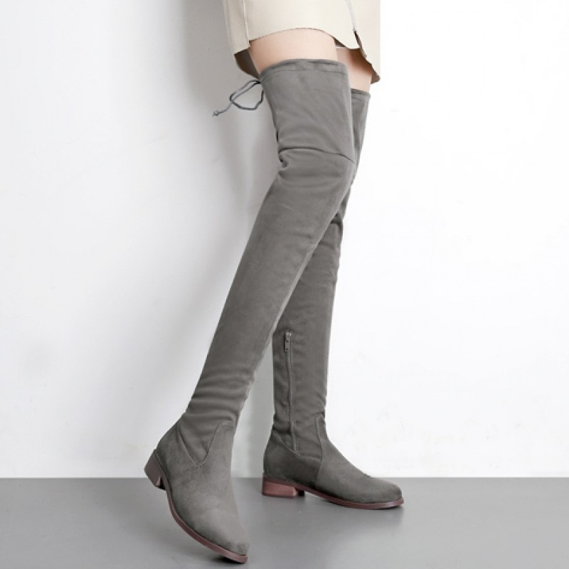 Grey Suede Long Knee Rider Flats Boots