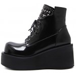 Black Chunky Platforms Sole Lace Up Grunge Gothic High Top Boots