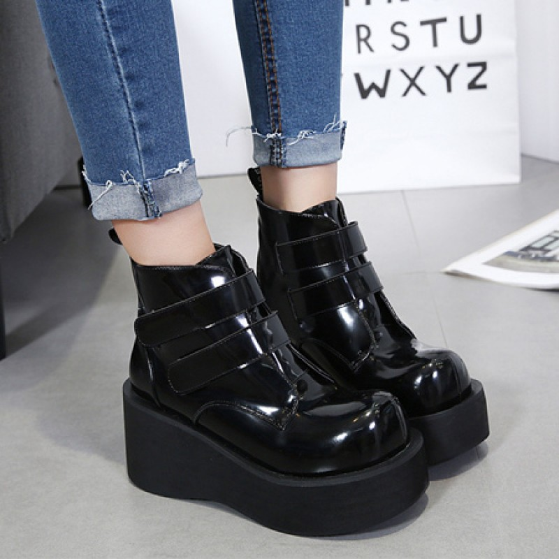 590cd9e7c7d99 Black Chunky Platforms Sole Grunge Gothic Ankle Boots Shoes