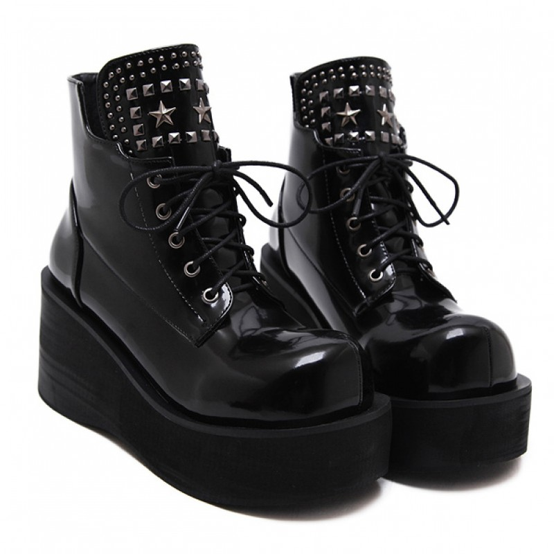 9bdbe606e0c77 Black Chunky Platforms Sole Lace Up Grunge Gothic High Top Boots