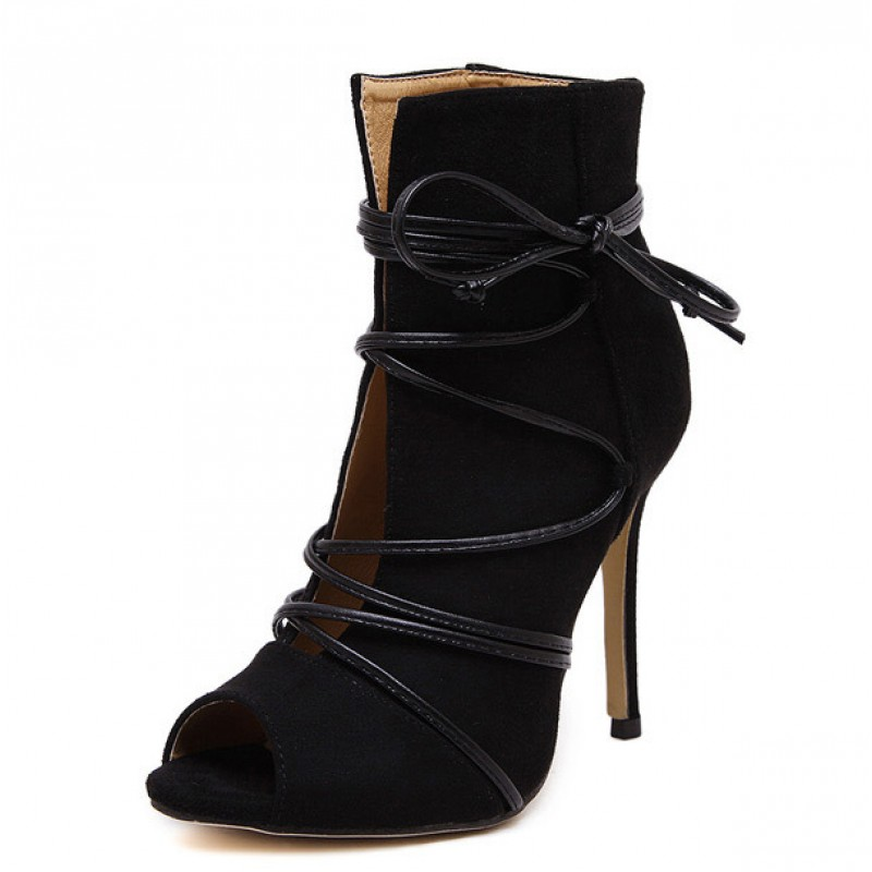 0e084e03c0cd Black Suede Lace Up Peep Toe Strappy Stiletto High Heels Ankle Boots Shoes