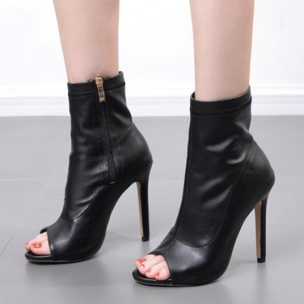 Black Peep Toe Ankle Stiletto High Heels Boots Shoes