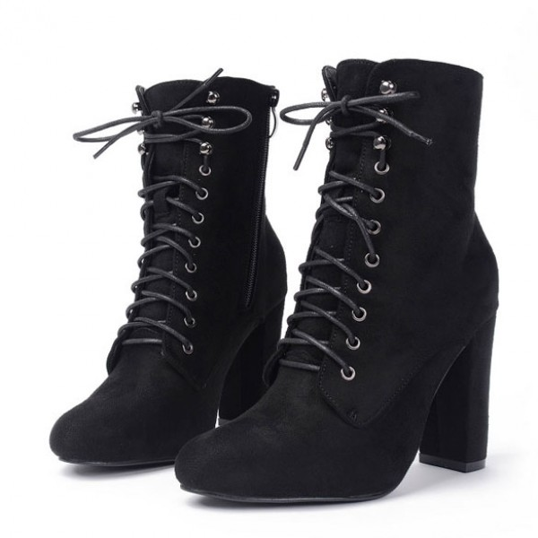 Black Suede Lace Up Rider High Heels Boots Shoes