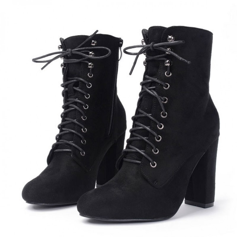 Black Suede Lace Up Rider High Heels