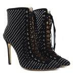 Black Suede Metal Studs Point Head Lace Up Stiletto High Heels Boots Shoes