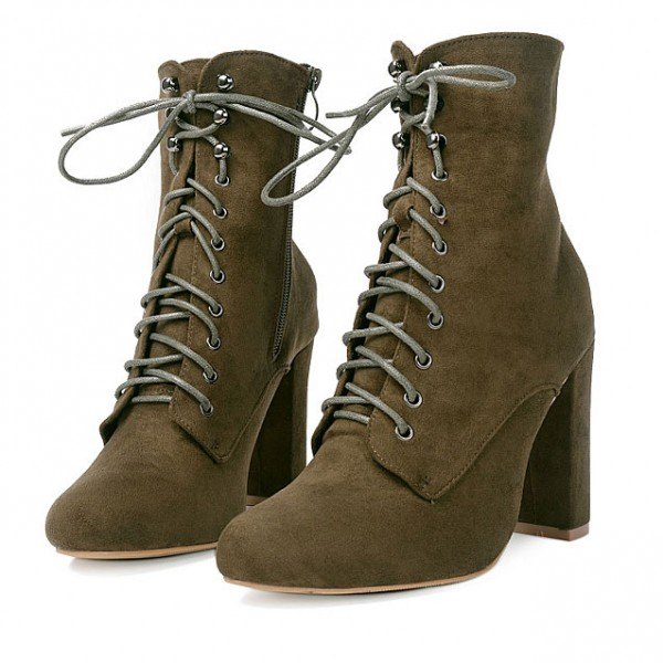 Khaki Brown Suede Lace Up Rider High Heels Boots Shoes