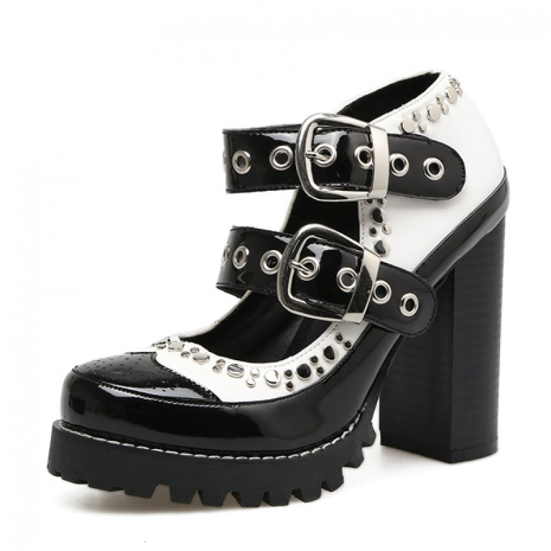 646abb94c00 Black White Patent Studs Cleated Sole Chunky Block High Heels Mary ...