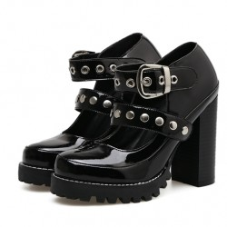 Black Patent Studs Gothic Punk Rock Chunky Block High Heels Mary Jane Shoes