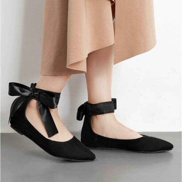 Black Suede Point Head Ankle Giant Bow Ballerina Ballet Flats Shoes