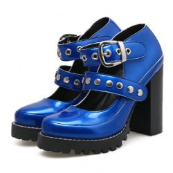 Blue Patent Studs Gothic Punk Rock Chunky Block High Heels Mary Jane Shoes
