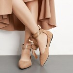 Khaki Suede Point Head Ankle Giant Bow Ballerina Ballet Flats Shoes