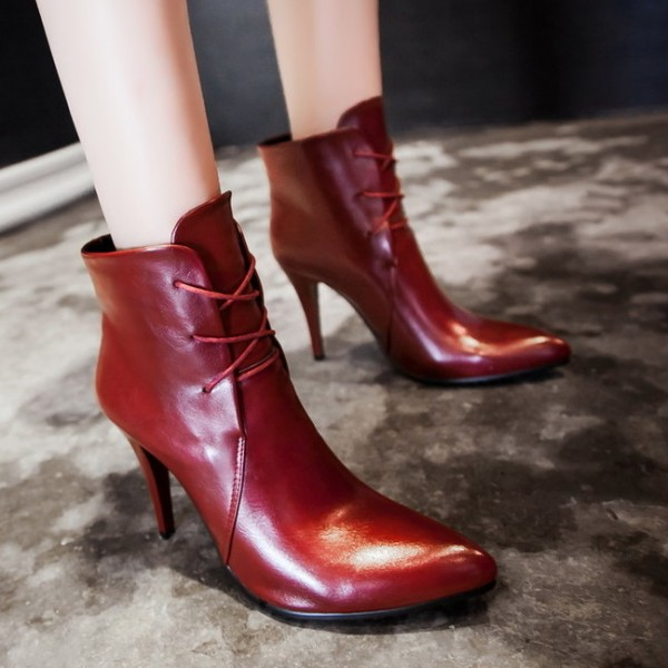 Burgundy Leather Lace Up Point Head Stiletto High Heels Ankle Boots Shoes