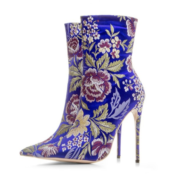 Blue Royal Satin Embroidered Floral Point Head Ankle Stiletto High Heels Boots Shoes