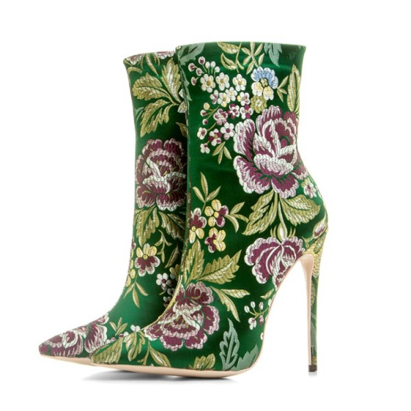 Green Satin Embroidered Floral Point Head Ankle Stiletto High Heels Boots Shoes