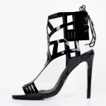 Black Patent Hollow Cut Out Stiletto High Heels Sandals Shoes