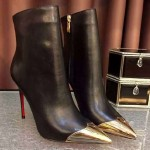 Black Metal Cap Point Head Ankle Stiletto High Heels Boots Shoes