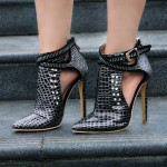 Black Metal Studs Rhinestones Point Head Cross Straps Buckles Stiletto High Heels Ankle Boots Shoes