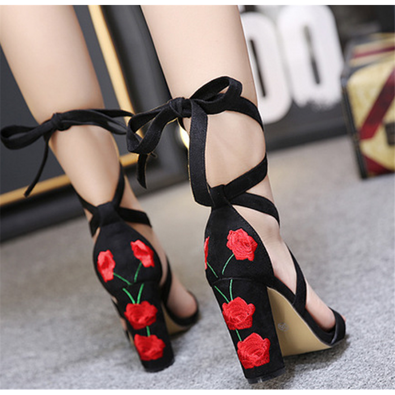 red and black strappy heels