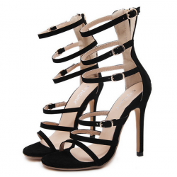 Black Suede Thin Straps Cocktail Stiletto High Heels Sandals Shoes