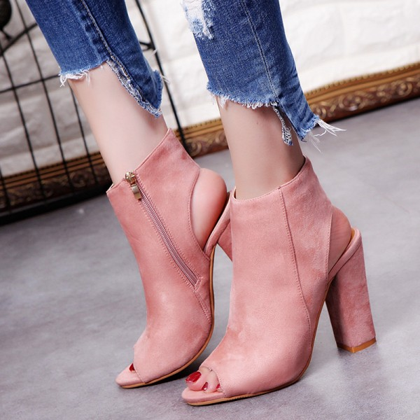 Pink Suede Peep Toe Slingback High Heels Ankle Boots Shoes