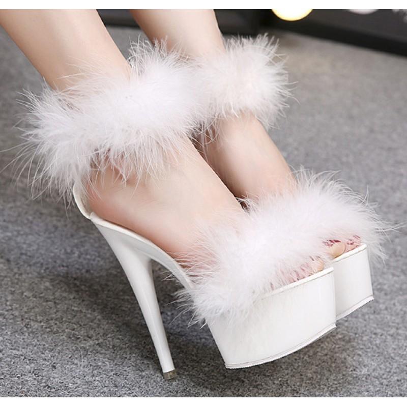 White Feather Fur Flurry Sexy Platforms