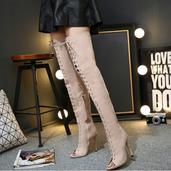 Khaki Suede Lace Up Thigh High Strappy Gothic Ballerina Stiletto High Heels Boots Shoes