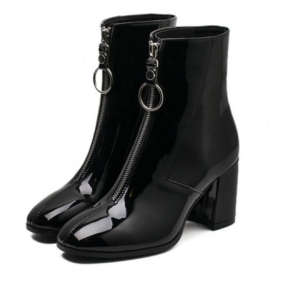 Black Patent Blunt Head Zipper Metal Ring Ankle High Heels Rider Boots Shoes