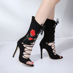 Black Suede Red Embroidered Rose Booties Stiletto High Heels Sandals Shoes
