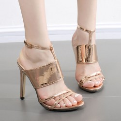 Gold Metallic Sexy Strappy Stiletto High Heels Sandals Shoes