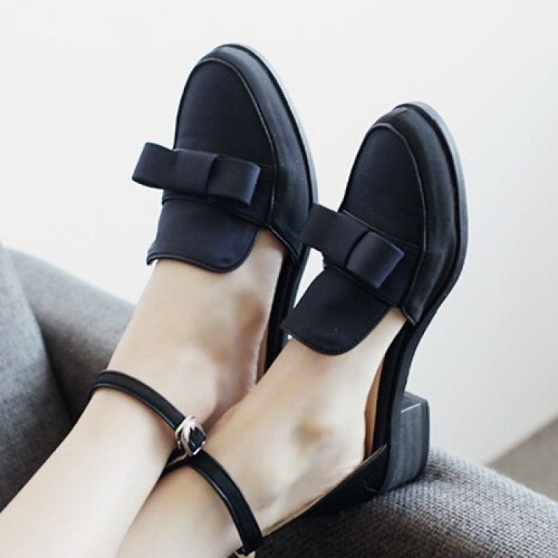 Black Satin Bow Mary Jane Flats Loafers