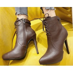 Brown Leather Lace Up Point Head Stiletto High Heels Ankle Boots Shoes