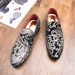 Black Floral Sequins Mens Oxfords Loafers Dress Shoes Flats